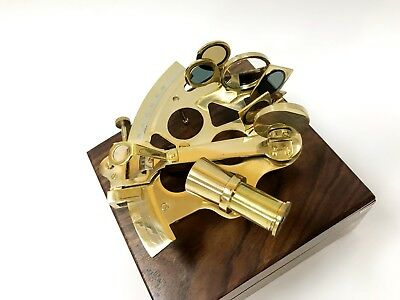 Nautical Solid brass working sextant comes in solid oak box with brass inserts
