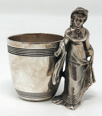 Antique Victorian Silver-Plate Figural Woman Napkin Ring Derby Silver SCP