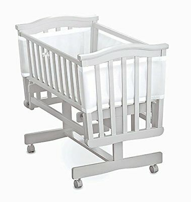 Breathable Baby Airflow 4 Sided Mesh Cot Liner - White with White Trim
