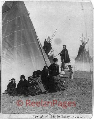 New Art Print of 1882 Bailey, Dix & Mead Photo Sitting Bull, Squaw & Twins