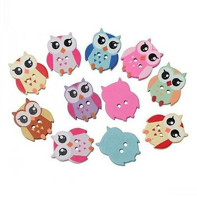 50 PCS Mixed Colors Lovely Owl Shape Two Buttons For DIY Sewing Buttons Z7Z9