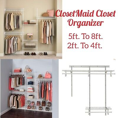 Closet Organizer ClosetMaid Shelf Wire Rack Kit Shelftrack 5u0027 To 8u0027 Or 2u0027