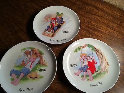 Lot of 3 Vintage Norman Rockwell Limited Edition Plates Winter, Summer & Spring