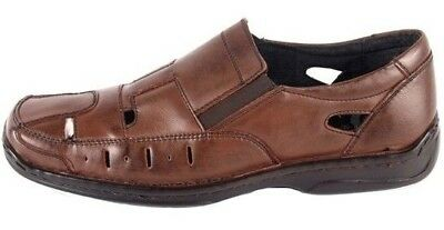New Mens Real Leather Formal Office Work Brown Shoes Older Boys Summer Sandals
