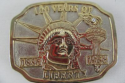 Metal Belt Buckle Made in USA Golden 1886-1986 100 Years of Liberty