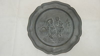 VINTAGE Antique Pewter Plate BOYS EATING FRUIT GRAPES MELLON HIGH RELIEF ART