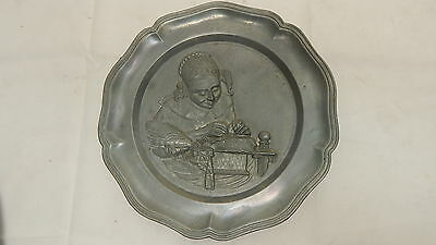 VINTAGE Antique Pewter Plate GIRL SEWING HIGH RELIEF WALL HANGING ART