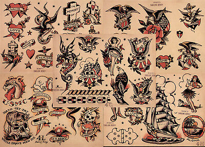 "Sailor Jerry Traditional Tattoo Flash 5 Sheets 11x14"" Set 6 Skulls Hearts Eagles"