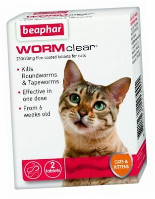 Beaphar WORMclear Cat Kitten Worming Tablets Roundworm Tapeworm One Dose 2 Tabs