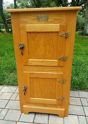 Vintage White Clad ice box storage cabinet solid oak brass hardware rustic