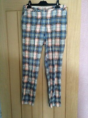 River Island Trouser Skinny Checked Pattern Blue Pink Pants 8 Petite Small