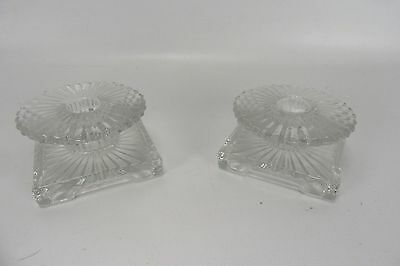 Vintage Ornate Pressed Clear Glass Matching Set of Candlestick Candle Holders