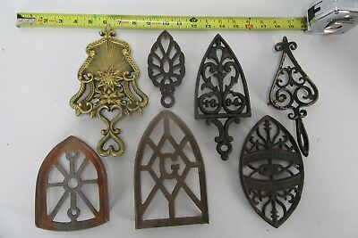 Lot of 7 assorted Brass, Iron, and Cast Iron Trivets/Iron Rests, some Antique.