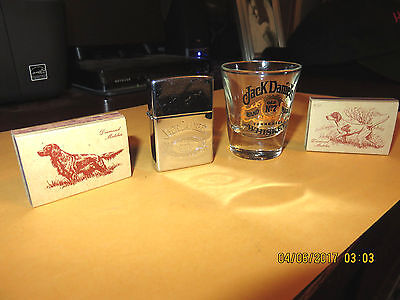 Zippo Jack Daniels  Whiskey Brand Lighter, Shot Glass, & 50's Wood Matches