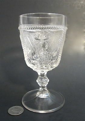 """Antique 1880s BELLAIRE Glass GIRL WITH FAN Pattern 5.75"""" Stem Water Goblet EAPG"""