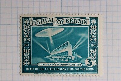Festival Britain 1951 expo Flying Saucer UFO Alien Spaceship Blind aid Poster ad