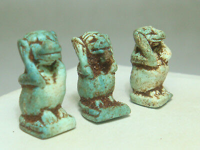 Ancient Egyptian god Thoth / Baboon (h) - Amulets (Faience) - Lot of 3