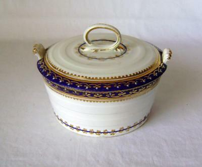 Early Derby Butter Dish & Lid :  Puce Crown Mark, Pattern Number 44, A/F