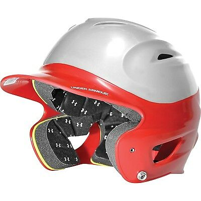 (Scarlet/Silver) - Under Armour Adult Two Tone Baseball Batting Helmet