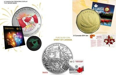 2017 Silver Proudly Canadian, The Spirit Of Canada Coins & O Canada 5 Coin Set.