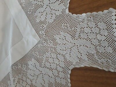 Beautiful heirloom Vintage Large white linen cloth with deep and crochet lace.