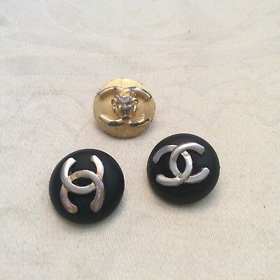 Three Vintage Coco Chanel Buttons, 2 Black w/Silver Gold, One Gold Metal Lion