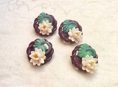 """4 Really Cute Vintage Extruded Lili Pad, Lotus Flower Buttons, 7/8"""""""