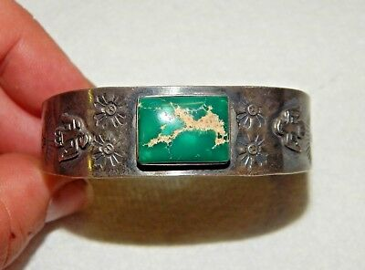 Navajo Old Pawn Hand Stamped Native American Turquoise & Silver Cuff Bracelet
