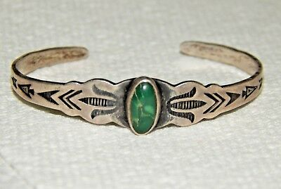 Navajo Old Pawn Hand Stamped Native American Turquoise & Silver Baby Bracelet