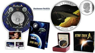 2016 Silver $20 STAR TREK ENTERPRISE 1 oz Coin & STAR TREK 25-Cent Coin & Stamps