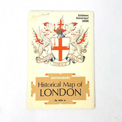 """Bartholomews Historical Map of London (26"""" x 39"""") Printed in Great Britain"""