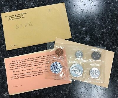 1963 U.s. Mint 5 Coin Proof Set In Original Government Packaging! Nice Set ~ Nr!