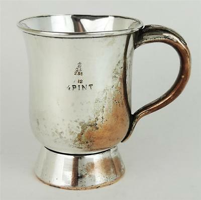Sweet VICTORIAN OLD SHEFFIELD PLATE CHRISTENING MUG 1/2 PINT c1860 T. Oldham