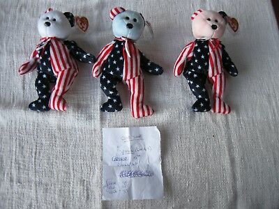 "Set of Three 5th Generation Ty Beanie Babies ""Spangles"""
