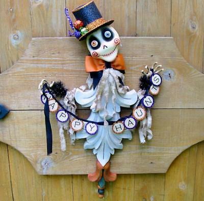 Bethany Lowe Halloween Beguiling Bernard Ghost Wall Hanging New