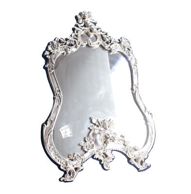 Vtg American Sterling Silver Vanity table top Mirror, raised cherubs, florals