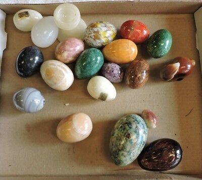 Large Vintage Group Lot of Glass, Alabaster & Onyx Easter Eggs and Bunny, (VE)