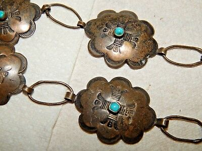 Zuni Native American Indian Hand Stamped Turquoise & Silver Ladies Concho Belt