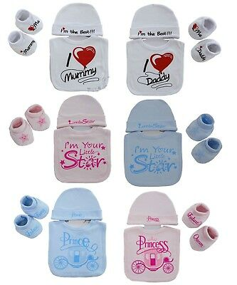 Baby Boys Girls 3 Piece Gift Set Soft Touch Bib Hat & Bootee Set NB-3 Months