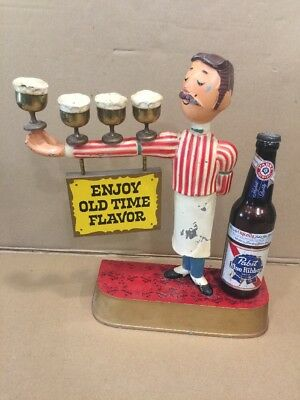 ~Original~ Vintage Pabst Blue Ribbon Beer 4 Mug Waiter Advertising Display Fig.