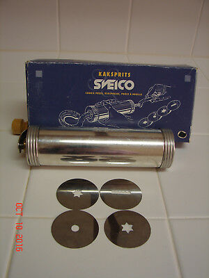 """WOW"" NEW KAKSPRITS SVEICO Sweden Cookie Press Stainless Steel 4 disk"