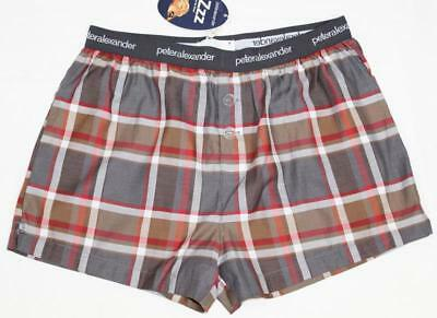 Peter Alexander Mens Brown Check Boxer Short Sz M & XXL NWT