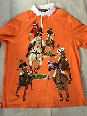 a6c517026 uk vintage polo ralph lauren five horsemen rugby shirt orange large 48968  83e3f