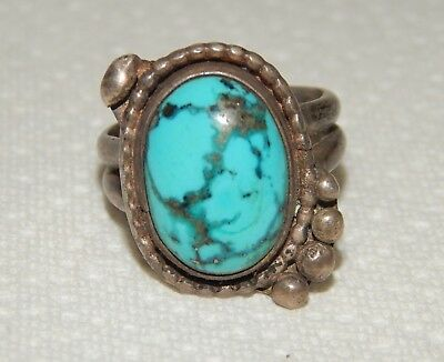 Navajo Old Pawn Native American Indian Turquoise & Silver Men's Ring