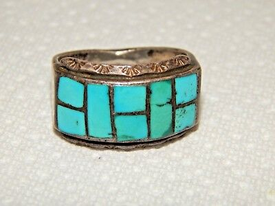 Zuni Old Pawn Native American Indian Turquoise & Hand Stamped Silver Men's Ring