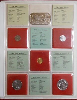 (#1) 1978-81 FAO Food For All  Full UNC Coin Set / Album  w/ gold & silver