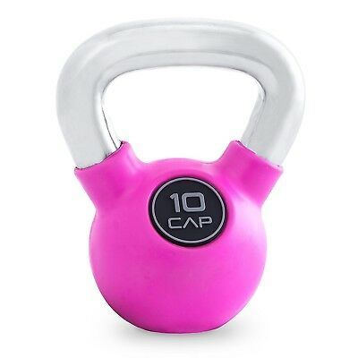 (Pink (10-Pound)) - CAP Barbell Rubber Colour Coated Kettlebell with Chrome