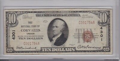 1929 $10 Corvallis, Oregon Ch.#4301 National Bank Note