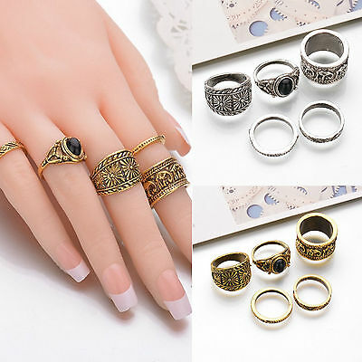 5Pcs/Set Fashion Women Carved Stack Above Knuckle Finger Alloy Rings Gold Silver