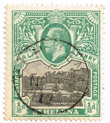 1912 St. Helena Used Half Penny Stamp Scott 61 Lh Ng